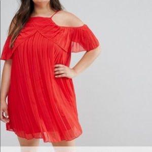 BooHoo Red Cold Shoulder Dress